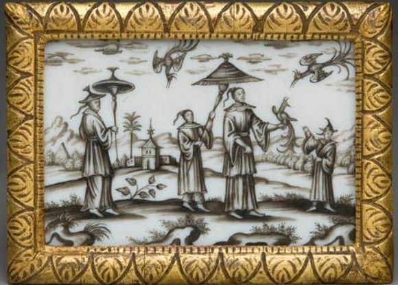Čínská krajina, kol. 1720, mléčné sklo, malované švarclotem, UPM