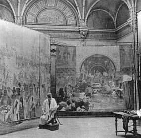 Alfons Mucha při malování Slovanské epopeje