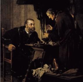 Brožík Václav Rudolf II u alchymisty