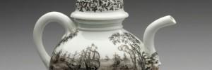 Ignác Preissler, konvice s přímořskou krajinou, kolem r. 1720, míšeňský porcelán malovaný švarclotem, UPM