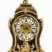 Francie, Paříž, 2. polovina 19. století, reliéfní zlacený číselník, značeno Raingo Fres Paris, smaltové štítky s číslicemi, hodinová schránka intarzovaná mosazí, zdobená aplikami ze zlaceného bronzu, stroj s 1/2 bitím na zvoneček, značeno 812 Raingo Fres Paris, Grahamův kotvový krok, stroj v chodu, celkové rozměry 70 x 37 x 13 cm.