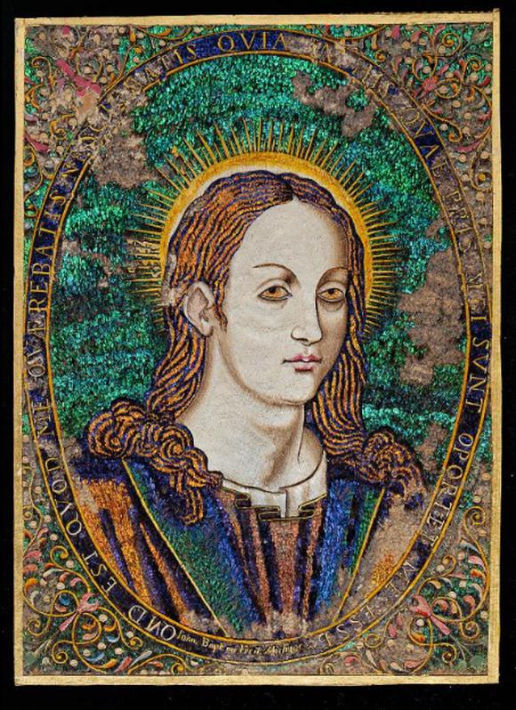 Portrét Krista z peří kolibříků a papoušků pochází z dílny Juana Baptisty Cuirise v mexickém Michoacánu z období 1550 – 1580.