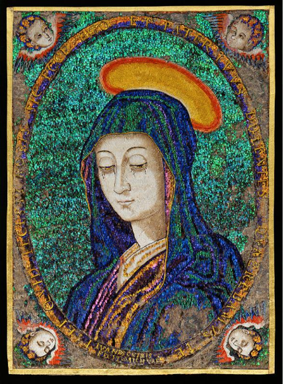 Mariánský obraz zpeří , Juan Baptista Cuiris, 1550-1580.
